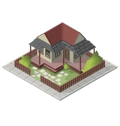 Isometric summer house backyard building vector image