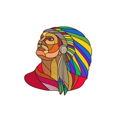 Native American Indian Chief Headdress Drawing vector image vector image
