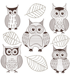 set of isolated monochrome owls vector image vector image