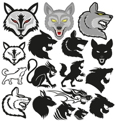 Set of wolves vector image vector image