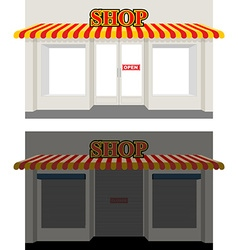 Shop by day and night storefront at dusk shop vector