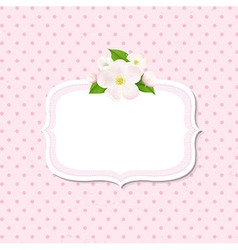 Apple Tree Flowers Background With Label vector image vector image