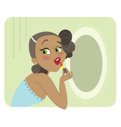 cute dark skinned brunette woman applying lipstick vector image vector image