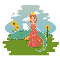 fantastic character fairytale princess vector image
