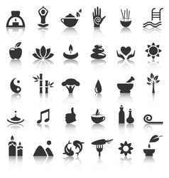 Spa yoga zen flat icons with reflection on white vector image vector image