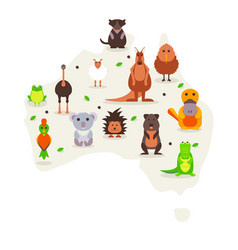 Animals australia cute cartoon characters vector