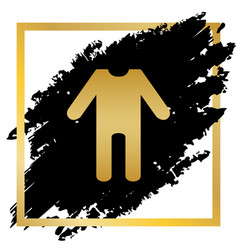 baby clothes sign golden icon at black vector image