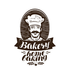 Bakery bakehouse logo home baking label vintage vector