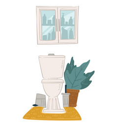 Bathroom interior design toiled and cabinet for vector