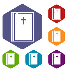 Bible icons set hexagon vector