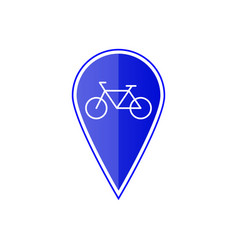 Blue map pointer with bicycle vector