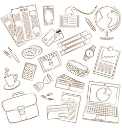 Business theme doodle vector
