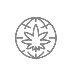 Cannabis leaf with globe line icon world cannabis vector