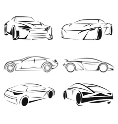 Car silhouettes set vector