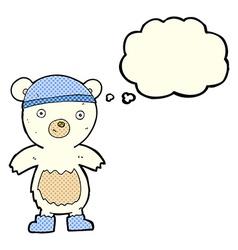 cartoon cute polar bear with thought bubble vector image