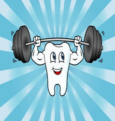 Cartoon Tooth Character Lifting Weights vector