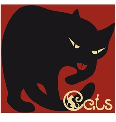 Cat on red vector