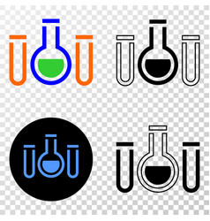 chemical tubes eps icon with contour vector image
