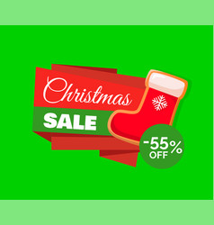 christmas sale label and red santa stocking 55 off vector image