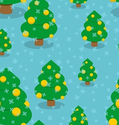 Christmas tree with balls seamless pattern Winter vector