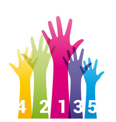 color hands up with numbers vector image