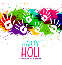 Color splashes and hand prints holi background vector