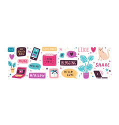 colorful collection various inscriptions signs vector image
