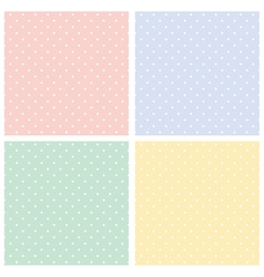 Colorful seamless patterns polka dots set vector