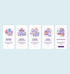 Consumerism motivation onboarding mobile app page vector