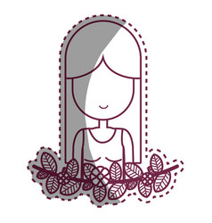 contour woman peace and love relax vector image