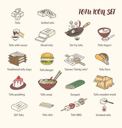cooking tofu icon collection asian cuisine vector image