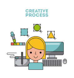 creative process flat vector image