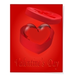 Crystal heart in a gift box with a red bow vector
