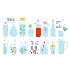 cute water doodle bottle glass thermos and vector image