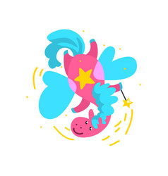 cute winged pink horse flying with a magic wand vector image