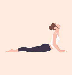 Cute young woman performing hatha yoga exercise or vector