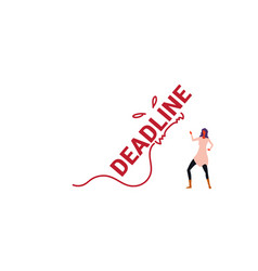 deadline word monster falling on exhausted vector image