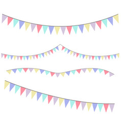 different colorful bunting for decoration of vector image