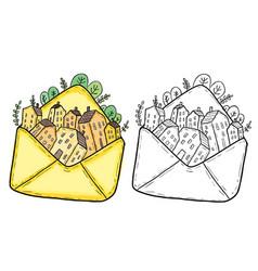 doodle houses inside a mailing envelope vector image