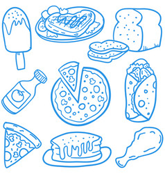 Doodle of fast food set vector