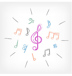 drawing musical notes white background vector image