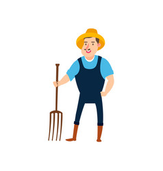 farmer with pitchforks ready to harvest flat vector image