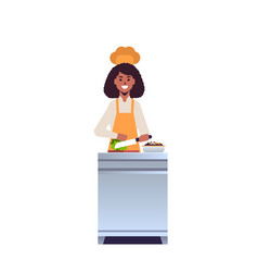 Female professional chef cook chopping fresh vector