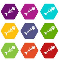 fish bone icon set color hexahedron vector image