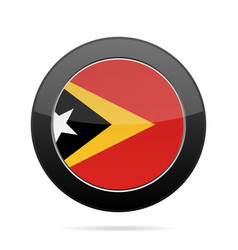Flag of east timor shiny black round button vector