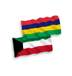 Flags mauritius and kuwait on a white vector