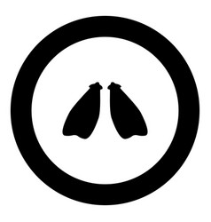 flippers icon black color in round circle vector image