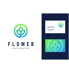 Flower logo and business card template vector