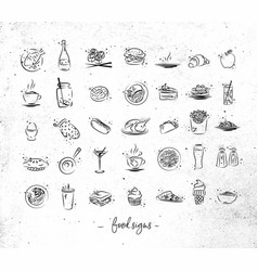 food vintage icons vector image
