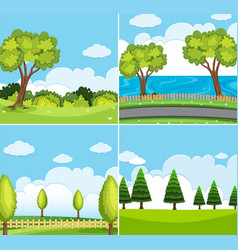 Four background scene with green trees vector